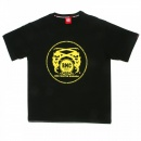 RMC JEANS Black Short Sleeve Regular Fit Crew Neck with Yellow Printed Logo
