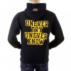 Black Untunk Overhead Large Fitting Hooded Sweatshirt