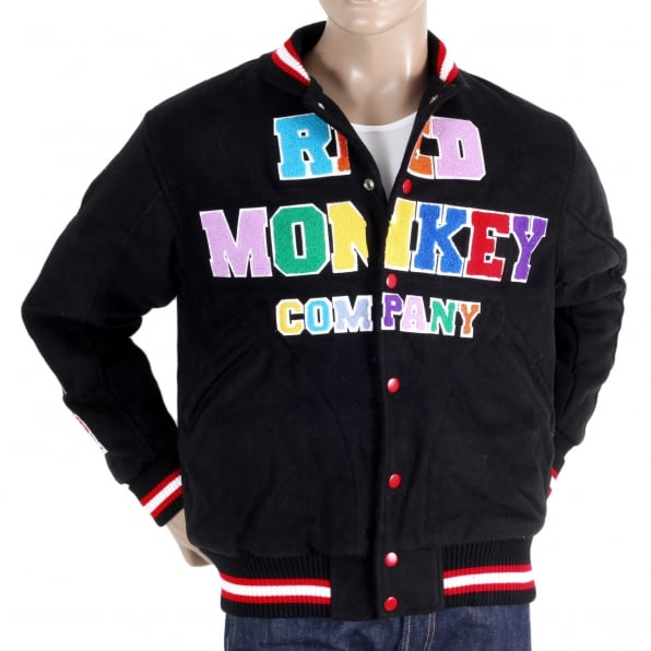 RMC JEANS Black with Colour Combo Regular Fit Varsity Baseball Jacket