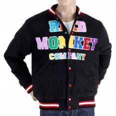 Black with Colour Combo Regular Fit Varsity Baseball Jacket