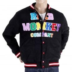 Black with Colour Combo Regular Fit Varsity Baseball Jacket