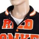 RMC JEANS Black with Orange and White Regular Fit Varsity Baseball Jacket Mens