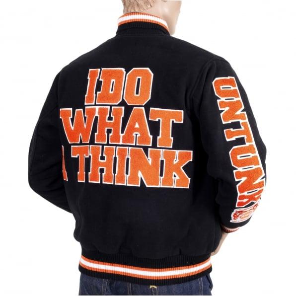 RMC JEANS Black with Orange and White Regular Fit Varsity Baseball Jacket Mens