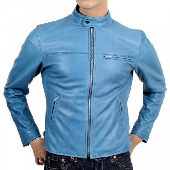 RMC JEANS Blue Kid Leather Zipped Biker Jacket with Nehru Collar