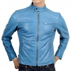 Blue Kid Leather Zipped Biker Jacket with Nehru Collar