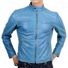 Blue Kid Leather Zipped Biker Jacket with Nehru Collar