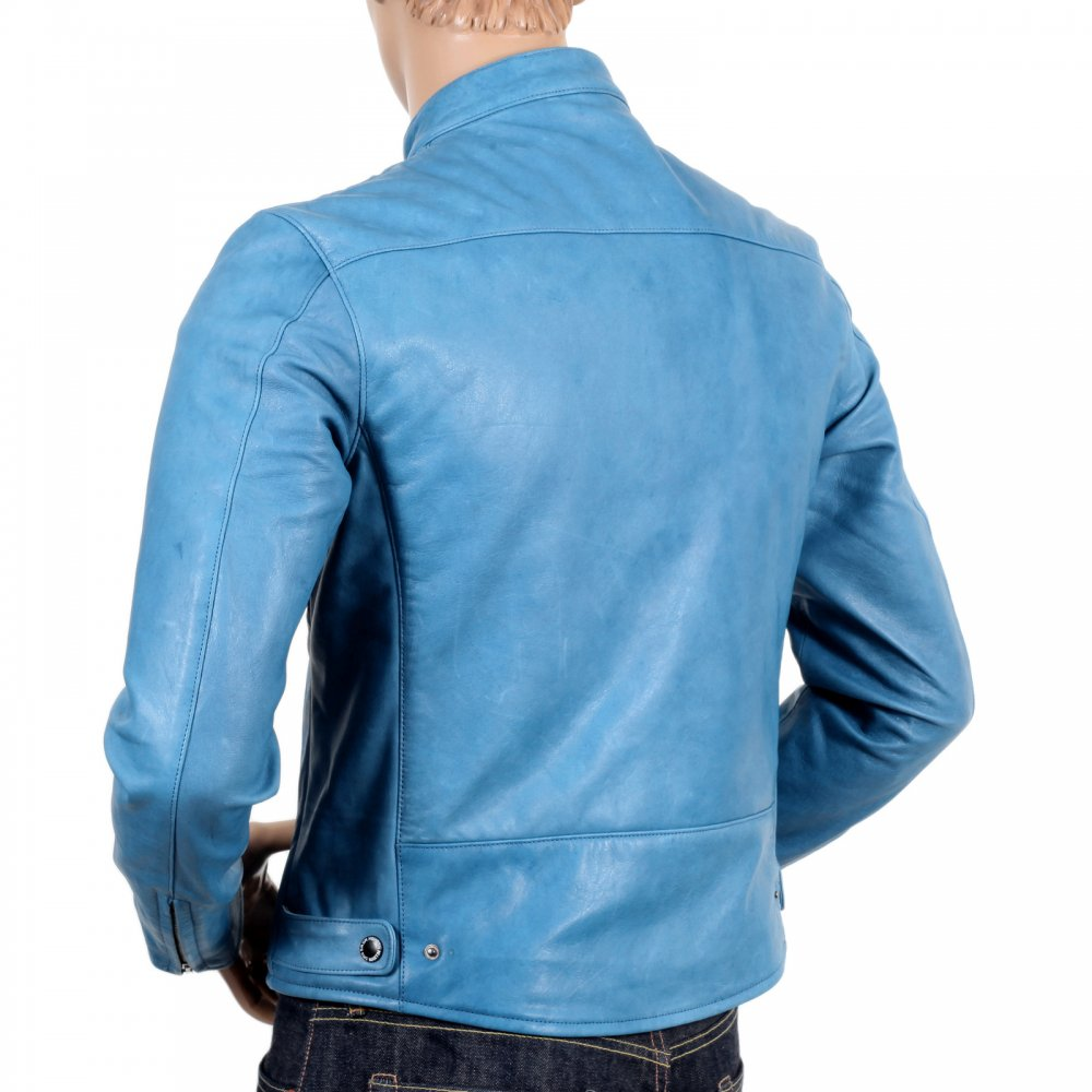 Blue Leather Biker Jackets For Men By Rmc Martin Ksohoh