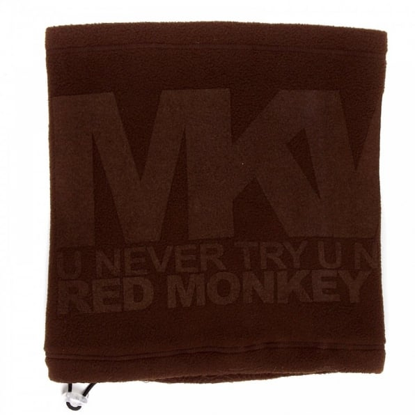 RMC JEANS Brown Fleece Reversible Neck Warmer Snood with Tsunami Wave Embroidery