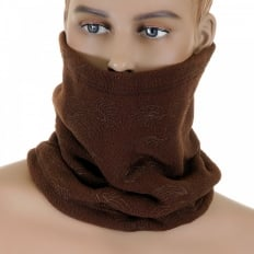 Brown Fleece Reversible Neck Warmer Snood with Tsunami Wave Embroidery