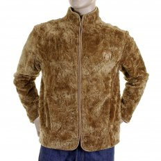 Brown Regular Fit Faux Fur Jacket with High Collar