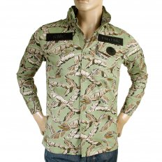 Camo Green Button up Regular Fit Hooded Cotton Field Jacket