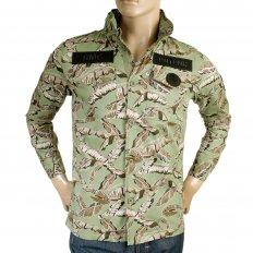 Camo Green Button up Regular Fit Hooded Cotton Field Jacket