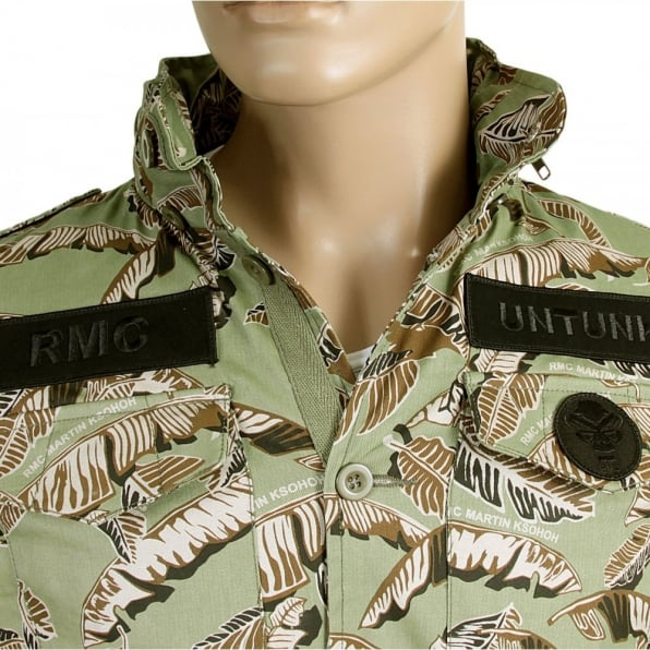 RMC JEANS Camo Green Button up Regular Fit Hooded Cotton Field Jacket