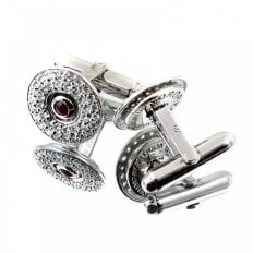 Circular Custom Made Diamond and Ruby Cufflinks