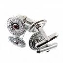 RMC JEANS Circular Custom Made Diamond and Ruby Cufflinks
