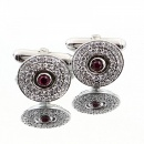 RMC JEANS Circular Custom Made Diamond and Ruby Cufflinks