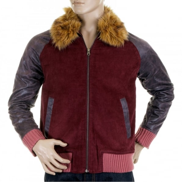 RMC JEANS Claret cord and plather jacket with corded body variegated sleeves
