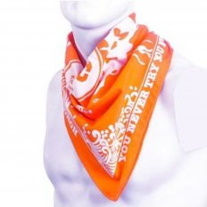Cotton Orange bandana with printed signature