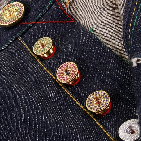 RMC JEANS Custom Made Diamond and Ruby 5 Button Set