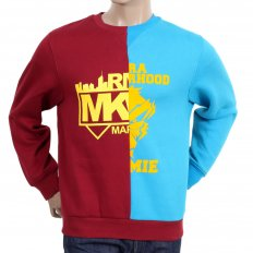 Custom Made Mens Crew Neck Long Sleeve Red and Blue Cotton Sweatshirt
