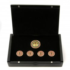 Custom Made Ruby and Blue Sapphire 5 Button Set