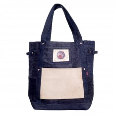 Custom Made Unisex Large Denim with Leather Tote Bag