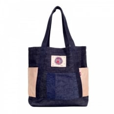 Custom Made Unisex Large Leather Tote Bag in Navy