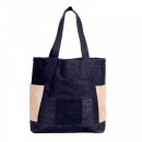 RMC JEANS Custom Made Unisex Large Leather Tote Bag in Navy