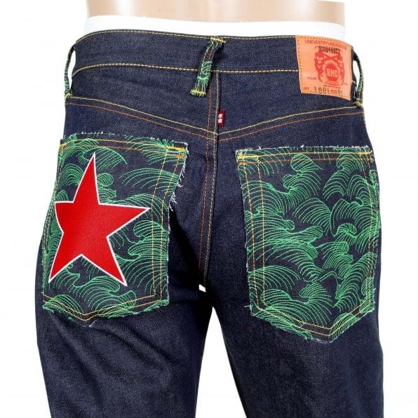 RMC JEANS Dark Indigo Raw Denim Jeans with Embroidered British Red Star