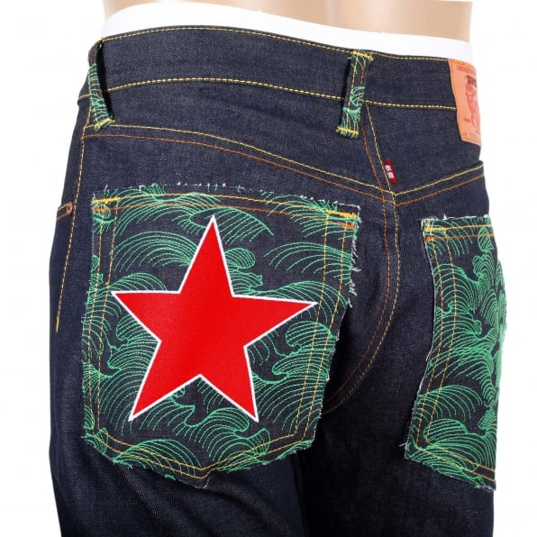 RMC JEANS Dark Indigo Raw Denim Jeans with Embroidered British Red Star