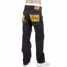 Dark Indigo Raw Denim Jeans with Gold Embroidered Cyber Monkey