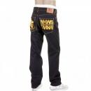 RMC JEANS Dark Indigo Raw Denim Jeans with Gold Embroidered Cyber Monkey