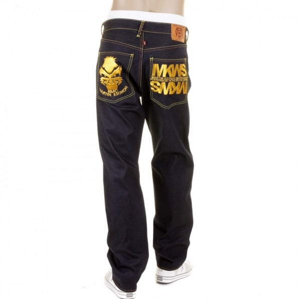 RMC JEANS Dark Indigo Raw Denim Jeans with Gold Embroidered Cyber Monkey