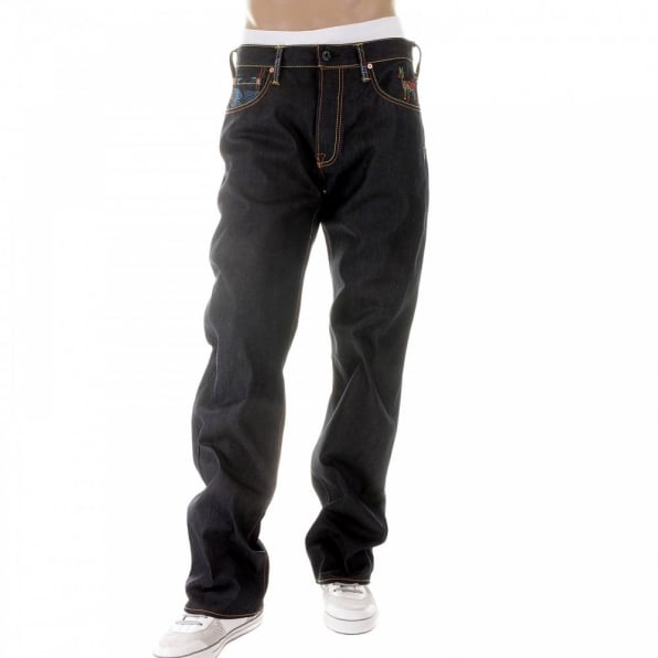 RMC JEANS Dark Indigo Raw Denim Jeans with Super Exclusive Design
