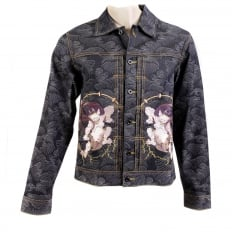 Early Original Fujin and Raijin Embroidered Exclusive Indigo Raw Selvedge Denim Jacket with Vintage Cut