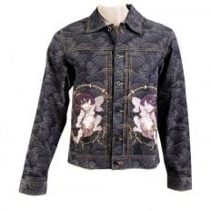 Early Original Fujin and Raijin Embroidered Exclusive Indigo Raw Selvedge Denim Jacket with Vintage Cut