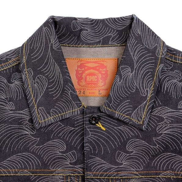 RMC JEANS Early Original Fujin and Raijin Embroidered Exclusive Indigo Raw Selvedge Denim Jacket with Vintage Cut