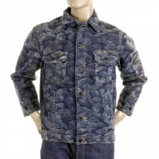 Embroidered Flocked Front Signature Tsunami Wave Regular Fit Denim Jacket