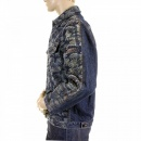 RMC JEANS Embroidered Flocked Front Signature Tsunami Wave Regular Fit Denim Jacket
