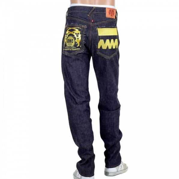 RMC JEANS Embroidered Gold and Red FM Union Japanese Selvedge Indigo Raw Denim