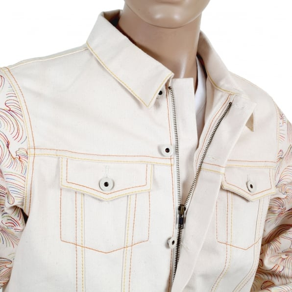 RMC JEANS Embroidered Multicolour Regular Fit Denim Jacket with Embroidered Tsunami Wave Sleeves