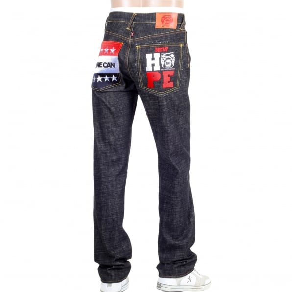 RMC JEANS Embroidered Obama Yes We Can Black Selvedge Raw Denim Jeans