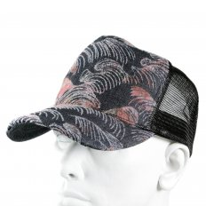 Embroidered Tsunami Wave Black Mesh Back Cap