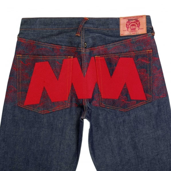 RMC JEANS Exclusive 4A Dark Indigo Selvedge Raw Denim Jeans with Embroidered Red Star