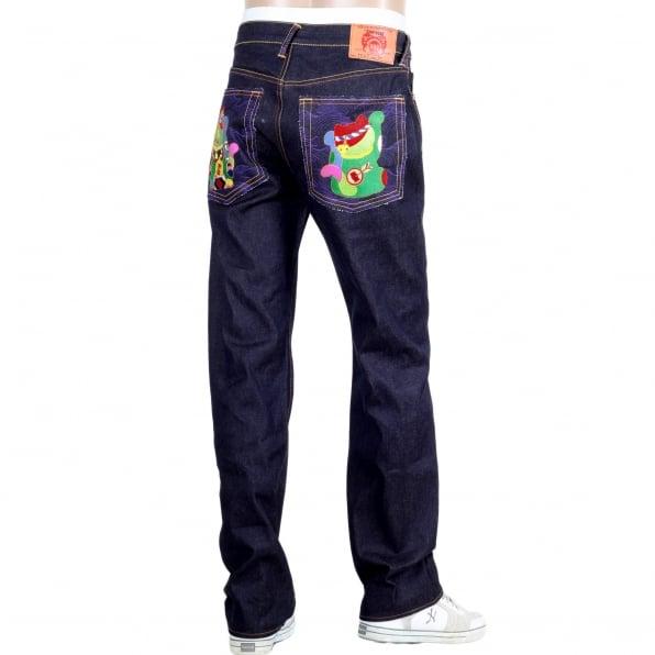 RMC JEANS Exclusive Dark Indigo Raw Selvedge Lucky Cat Denim Jeans