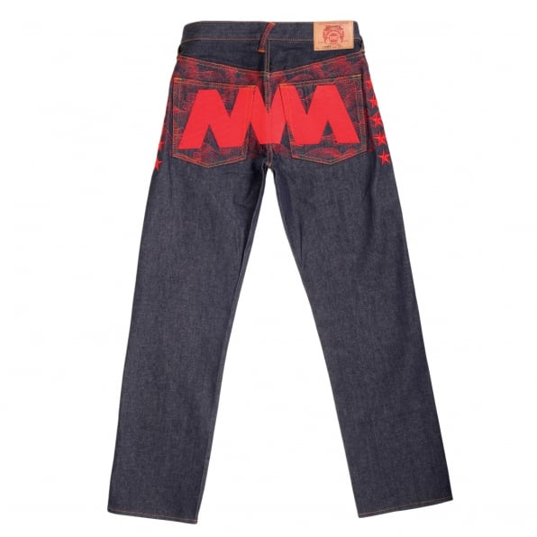 RMC JEANS Exclusive Dark Indigo Selvedge Raw Denim Jeans with Like Black Red Embroidery