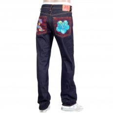 Exclusive Embroidered Holiday Flower Dark Indigo Raw Selvedge Denim Jeans