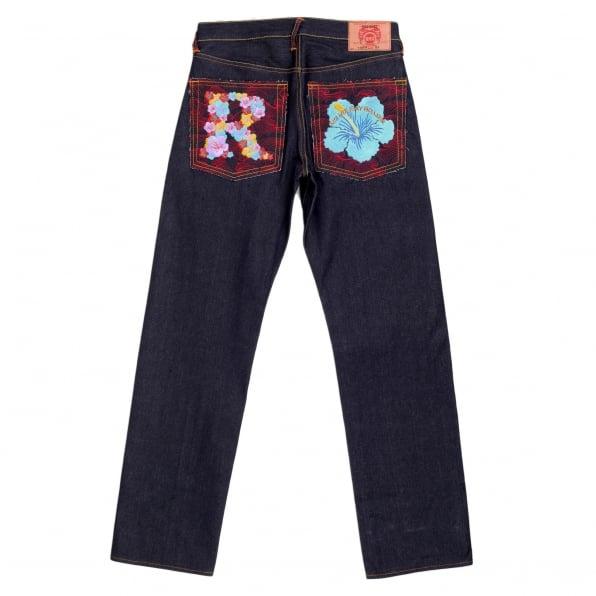 RMC JEANS Exclusive Embroidered Holiday Flower Dark Indigo Raw Selvedge Denim Jeans
