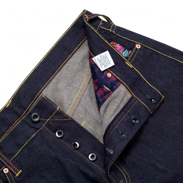 RMC JEANS Exclusive Geisha and Oiri Embroidered Vintage Cut Selvedge Raw Denim Jeans