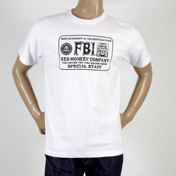 RMC JEANS FBI White Crew Neck Short Sleeve Regular Fit T-shirt for Men